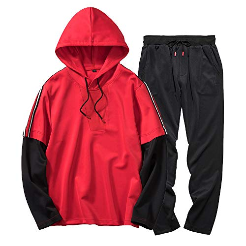 IMJONO Männer Herbst Winter Patchwork Sweatshirt Top Pants Sets Sportanzug Tracksuit (EU-52/CN-2XL,Rot)