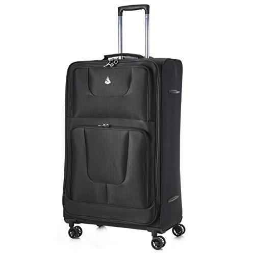 Aerolite Super Lightweight 8 Wheel Spinner Luggage Suitcase Travel Trolley Cases (Black, 21″ Cabin + 26″ + 29″, 3 Piece Set)