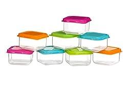 Premier Housewares Mini-Vorratsbehälter, 8 Stück, Mehrfarbig, Kunststoff, 6x6x4