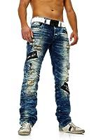 Herren Zerrissene Destroyed Jeans mit heller Waschung von Redbridge blau
