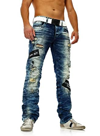 redbridge herren zerrissene destroyed jeans mit heller waschung blau bekleidung. Black Bedroom Furniture Sets. Home Design Ideas