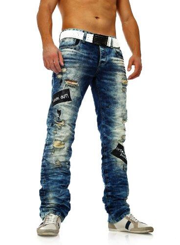 Herren Zerrissene Destroyed Jeans mit Heller Waschung von Redbridge blau (W30 L32, Blau)