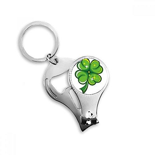 Four Leaf Clover Glanz Irland St. Patrick 's Day Metall Schlüsselanhänger Ring Multifunktions-Nagelknipser Flaschenöffner Auto Schlüsselanhänger Best Charm Geschenk -