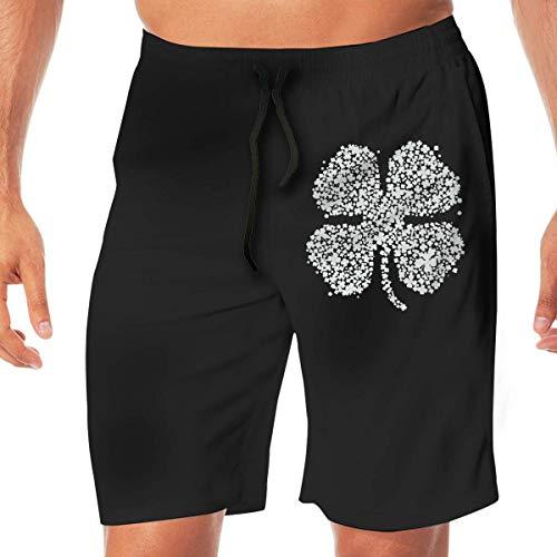 Mens Swim Shorts St Patricks Day Shamrock Lightweight Beach Board Short with Pocket,M -