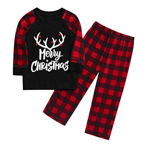 Fenverk Christmas Bekleidungsset Set: T-Shirt + Hose Shirt Langarm - Langarmshirt für Babys -Longsleeve mit Rundhalsausschnitt Familien-Eltern-Kind-Anzug Zweiteiliger (C Schwarz,5~6 Years) -