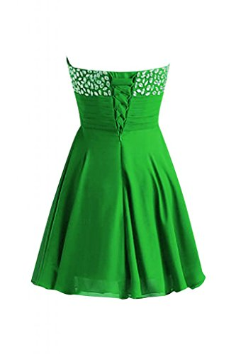 Sunvary senza spalline-Pantaloncini della linea Sweetheart Chiffon A-Line Cocktail Homecoming vestiti Verde