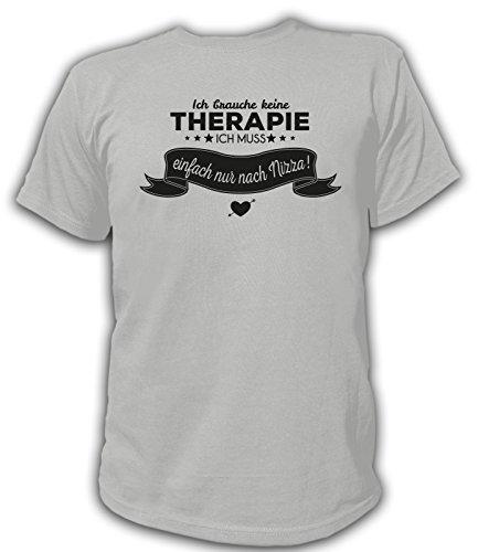 Artdiktat Herren T-Shirt Ich brauche keine Therapie - Ich muss einfach nur nach Nizza Grau