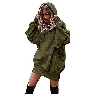 Beikoard Damen Solide Kapuzenpullover Hoodies Pullover Mantel Hoody Sweatshirt Sport Hoodies Lang Sweatshirt (Coffee, Small)