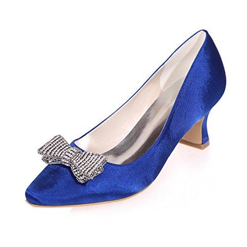 L@YC Femmes Mariage Haute Talon Strass applique Soie PointéE / Nuit De FêTe Et Plus Couleurs Disponibles blue