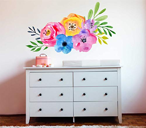 Mieter Floral Wallpaper Wall Decal abnehmbare und wiederverwendbare Stoff Wall Decal Mode Wall Art Peel und Stick tempor?re Tapete