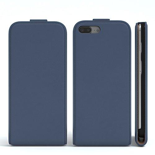 iPhone 8+ Hülle / iPhone 7+ Hülle - EAZY CASE Premium Flip Case Klapphülle für Apple iPhone 7 Plus & iPhone 8 Plus - Edle Schutzhülle aus Leder mit Magnetverschluss in Lila Dunkelblau