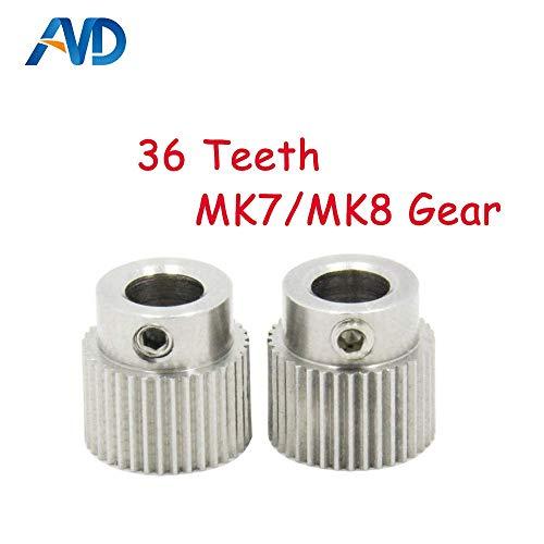 AiCheaX - 5 piezas Accesorios para impresoras 3D 36 dientes MK7 / MK 8 Extrusora de rueda de engranaje planetario de acero inoxidable Rueda de extrusión de alimentación