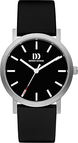Danish Design Women's Quartz Watch with Black Dial Analogue Display and Black Leather Strap DZ120441
