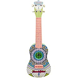Asdomo Ukulele 23-Zoll Soprano-Anfänger-Set für Gitarren Saiten Musikinstrumente Hawaii-Ukulele für Kinder Kids Mädchen Jungen Schüler und Anfänger, plastik, Classical Printing, 23x7x3 inch