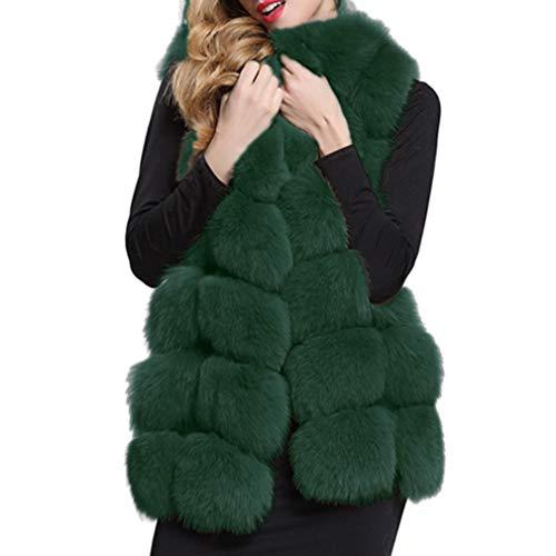 Cappotto Lungo da Donna - Senza Maniche Giacca Rivestimento del Cappotto  del Cappotto di Pelliccia del 37f14e3edfec