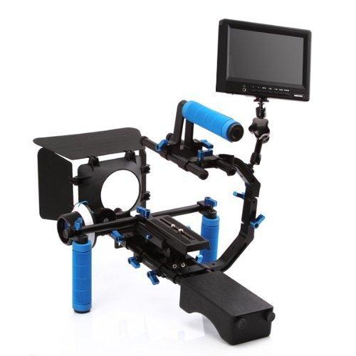 "Yimidear Universal-Professional Video Film Kit Combination Gruppe DSLR Shoulder Support Berg Rig + Handgriff + F1 Follow Focus Finder mit Getriebe Belt + Matte Box + Pro C-Form-Support Cage + Top Handle + Hohe Qualität HD 1080P 7 ""Portable-Monitor mit Mini-HDMI-Ein-und Ausgang AV YPbPr-Eingang für DSLR / DV Video Kamera wie Canon 550D 500D 60D 50D 40D 5D 5D2 5D3 1Ds, Nikon D700 D300 D90 D7000 D5000 D3100 D3000, Fuji, Olympus, Pentax SLR DSLR And So On"