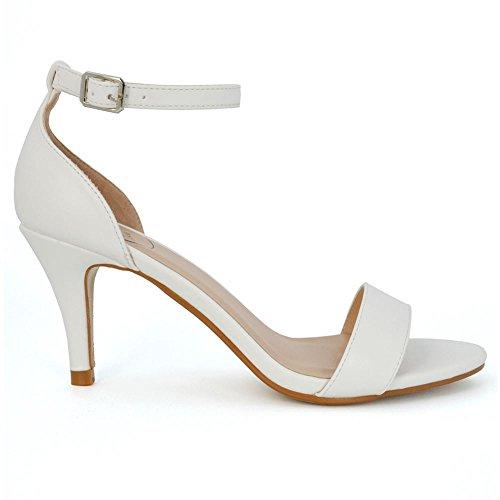 Essex glam donna tacco basso peep toe stiletto bianco pelle sintetica cinturino alla caviglia sandalo eu 39