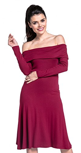 Zeta Ville - Robe Trapèze manches longues encolure bardot - femme - 632z Cramoisi