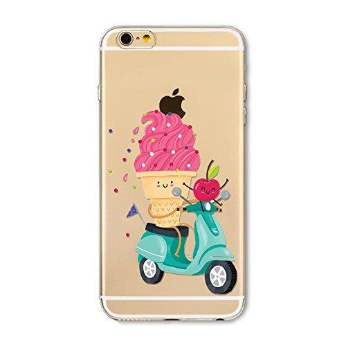 Coque iPhone 5 5s Housse étui-Case Transparent Liquid Crystal en TPU Silicone Clair,Protection Ultra Mince Premium,Coque Prime pour iPhone 5 5s-Beignet et de la glace-style 9 13