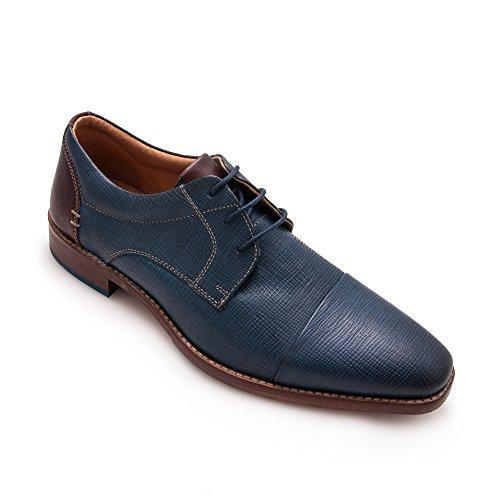 Zerimar Herren Lederschuhe Eleganter Herrenschuhe Blau Marine