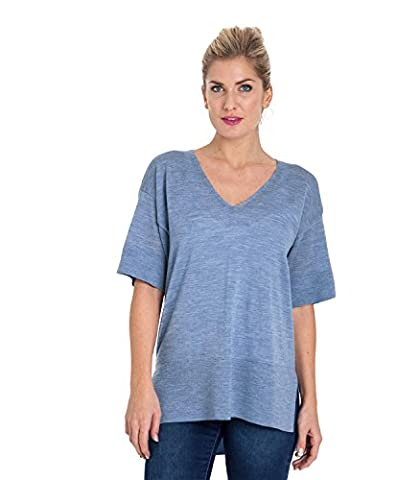 WoolOvers Womens 100% Merino V Neck Knitted Tunic Blue Marl, L