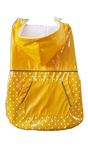 PUPTECK BA1064 Fashion Dots Pet Dog Raincoat with Hood and Pocket Yellow XXXL 1