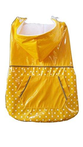 PUPTECK BA1064 Fashion Dots Pet Dog Raincoat with Hood and Pocket Yellow XXXL 1