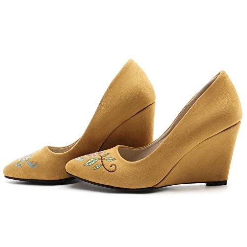 COOLCEPT Damen Klassische Chinese Embroidery Schuhe Fashion Keilabsatz Ladies Hochzeit Pumps 783 Yellow
