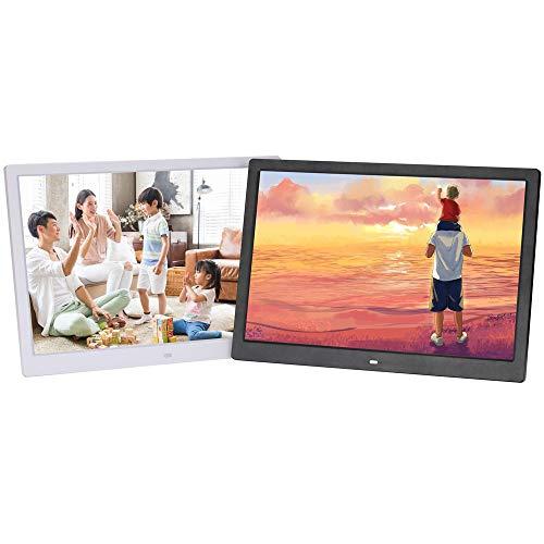 TONGTONG 14 Zoll Digital Photo Frame High Resolution 1280x800 Display MP3 Video Player Kalender-Alarmuhr mit Fernbedienung unterstützen USB-SD-Card-Geschenk-Wahl,White - 14 Photo Digital Zoll Frame