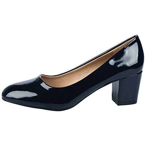 cb75dbbe362e ByPublicDemand Yvonne Womens Mid Block Heel Slip On Smart Office Ladies  Patent Court Shoes Navy Blue