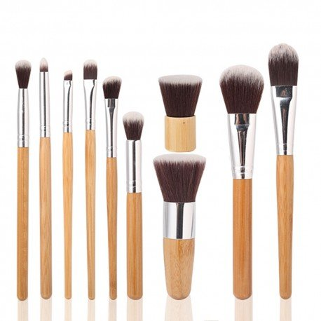 10 pinceaux maquillage Eco friendly Bambou naturel