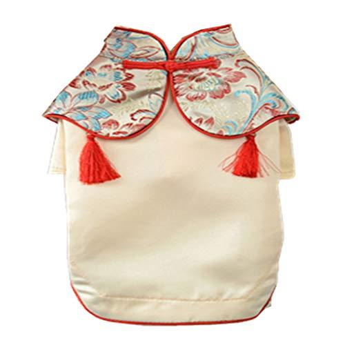 Chinesische Kostüm Qipao - LOVIVER Reizende Chinesische Stil Hundekleidung Hunde Welpen Kostüm Frühling Sommer Kleidung - Typ 1 Goldgelb, L