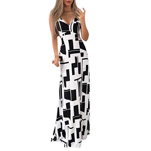 Kleid Damen Sommer Elegant Sling Party Dress Cocktail Frauen V Ausschnitt äRmellos Gedruckt Lange Party Hochzeitsgast Kleid Weiß S -