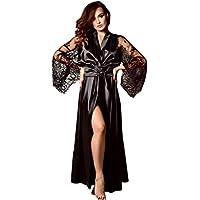 iYmitz ♛ Femmes Satin Longue Chemise De Nuit Dentelle en Soie Lingerie Robe De Nuit Sexy Pyjama Robes de Chambre et Kimonos