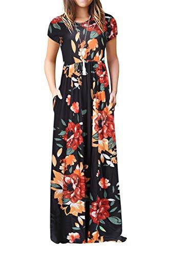 Bequemer Laden Robe Longue Femme Été Manches Courtes Floraux Robes Maxi Élégante Robe de Plage avec Poches,Noir,L