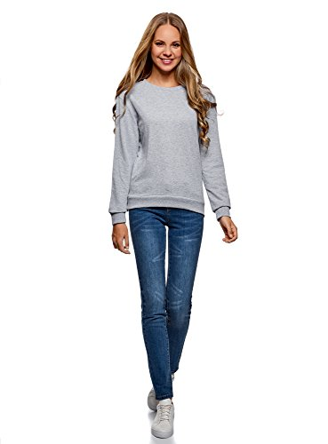 oodji Ultra Femme Sweat-Shirt en Coton (Lot de 2) Gris (2000M)