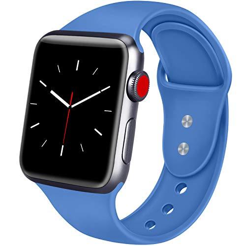 ATUP Armband Kompatibel für Apple Watch 38mm 42mm 40mm 44mm, Weich Silikon Ersatz Armband für iWatch Apple Watch Series 4, Series 3, Series 2, Series 1 (08 Gem Blau, 42mm/44mm-S/M)