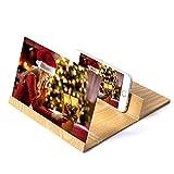 12-Zoll-Bildschirmlupe Smartphone-Lupe, Muzhuo 3D-Handy-Bildschirm Stereo-Projektionslupe, High-End-Klapphalterung aus Holz - Strahlenschutz