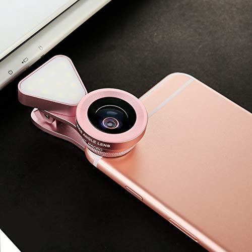 LED selfie lumière d'appoint 15X Macro Set large objectif 3 en 1 lentille de téléphone externe Objectif grand-angle réglable lumière de remplissage de téléphone portable,Rose