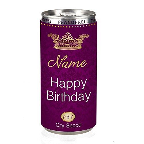 City Secco Happy Birthday Perlwein mit Wunschname (weiß trocken) 200 ml