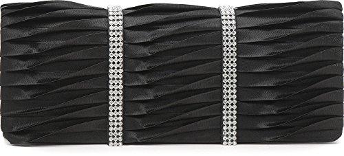 VINCENT PEREZ, Clutch, Abendtaschen, Umhängetaschen, Unterarmtaschen, Satin, Raffung, Strassstein-Verzierung, 24x9,5x4,5 cm (B x H x T), Farbe:Taupe Schwarz