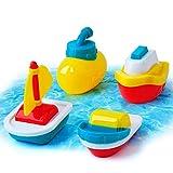 GizmoVine Giochi Bagnetto Barca Giocattolo Galleggiante Giochi da Bagno Barchette per Bambini Giochi Prima Infanzia Ragalo Ragazzo Ragazza,4 Pezzi