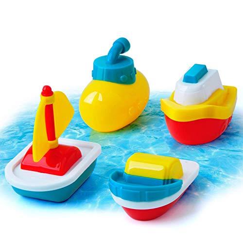GizmoVine Badespielzeug Boote Badewannenspielzeug Set Schwimmendes Poolspielzeug Wasserspielzeug Babyspielzeug für Jungen und Mädchen