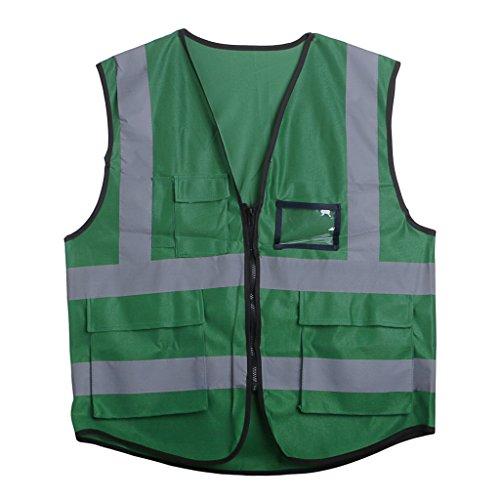 ZOOMY Warnweste mit Reißverschluss Reflektierende Jacke Sicherheitsweste 5 Taschen - Grün