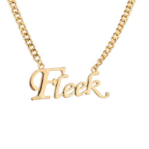 LUX Zubehör FLEEK Gangster On Point kein Witz Big Kette Link Wort Anhänger Halskette (Kleid Kleine Samt-rosa)