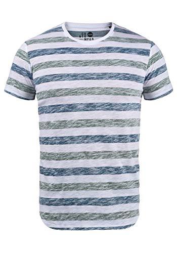 !Solid TET Herren T-Shirt Kurzarm Shirt Mit Streifen Und Rundhalsausschnitt, Größe:L, Farbe:Creme de Menthe (3017) -