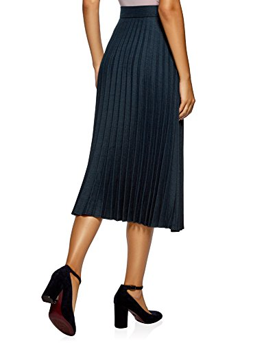 oodji Collection Damen Maxi-Plisseerock Blau (2975G)