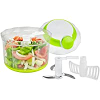 Brieftons QuickPull Food Chopper: Powerful Manual HandHeld Chopper/Mixer/Blender, Large 4-Cup