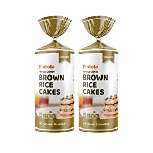 Pintola Organic Wholegrain Brown Rice Cakes - All Natural (Unsalted, Pack of 2)