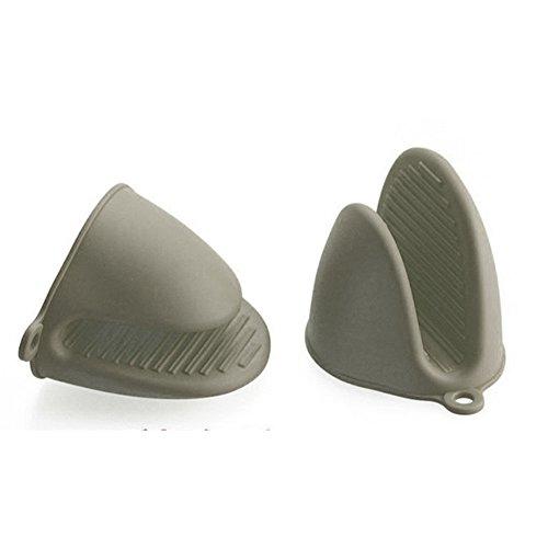 Silikon Topflappen Ofen Mini Handschuhe Kochen Pinch Griff 2Stück grau